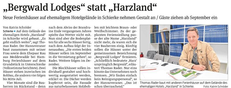 Bergwald-Lodges statt Harzland