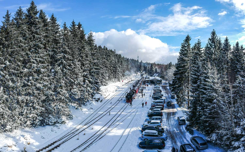 Schierke Bahnhof im Schnee