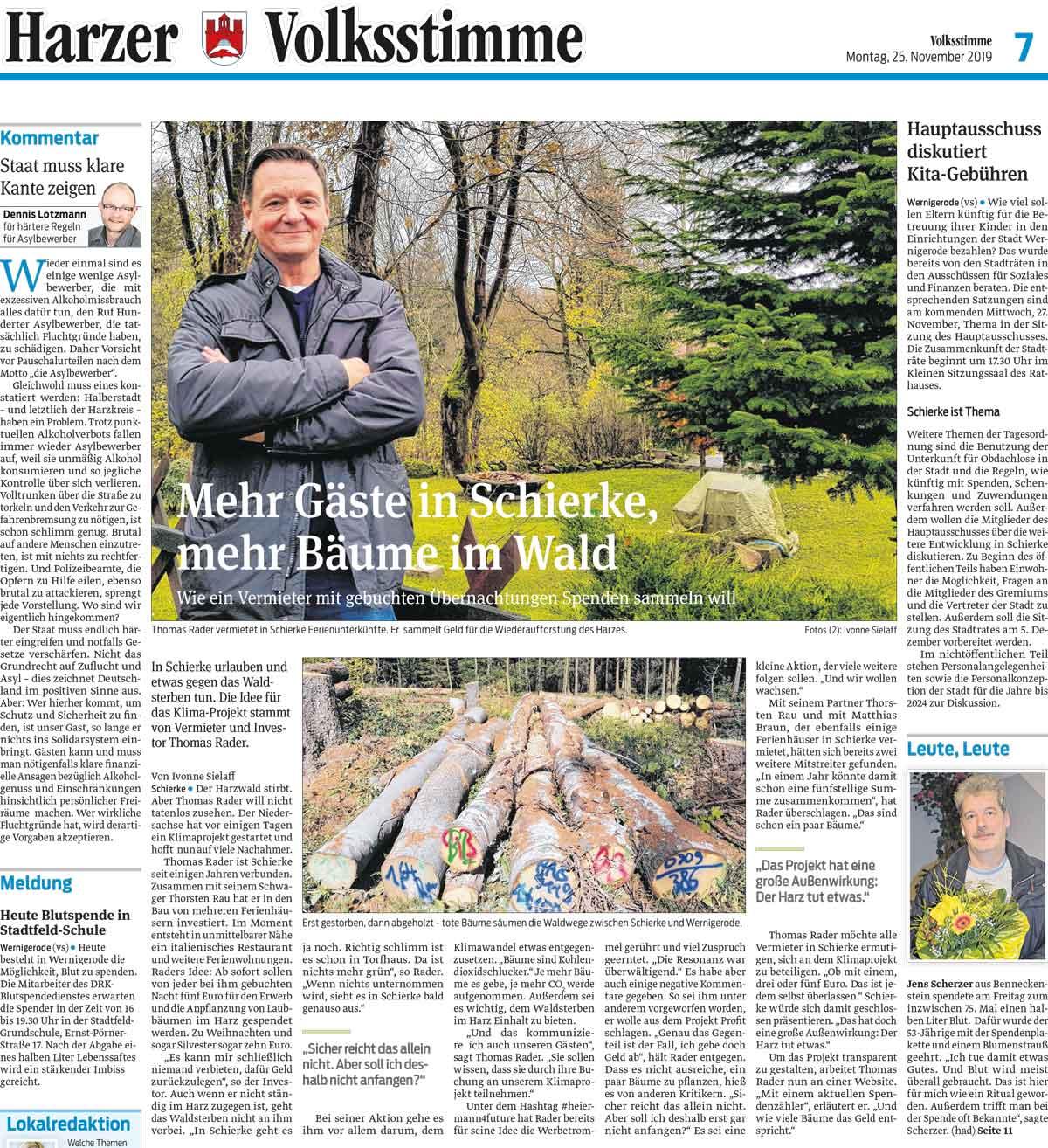 Harzer Volksstimme 25.11.2019